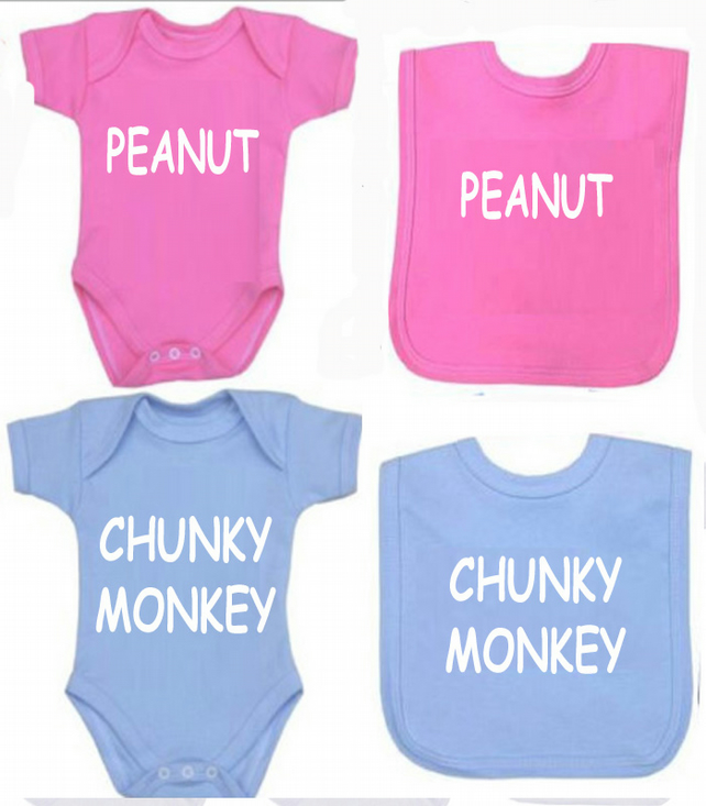 BODYSUIT CHUNKY MONKEY OR PEANUT SET FOR YOUR BABY