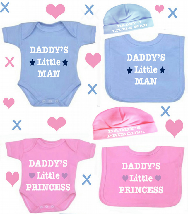 BODYSUIT BIB AND HAT  SET  DADDY'S PRINCESS OR ANY FAMILY MEMBER