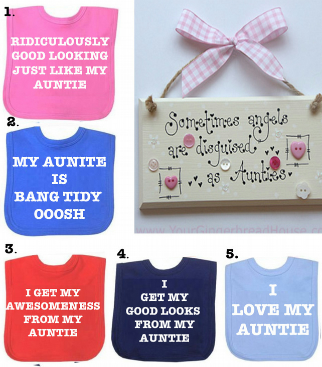 BIB Auntie  good looking  DIFFERENT SAYINGS bib etc