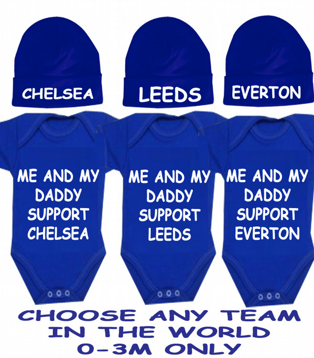BODYSUIT SET WITH HAT LIVERPOOL CHELSEA ARSENAL MAN UTD LEEDS ANY TEAM