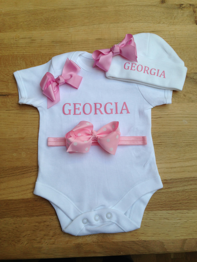BODYSUIT SET WITH HAT and headband pink bow set