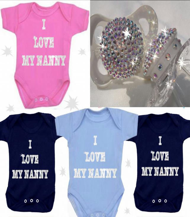 BODYSUIT SPARKLY DESIGNS  I LOVE NANNY OR ANY FAMILY MEMBER FOR YOUR BABY