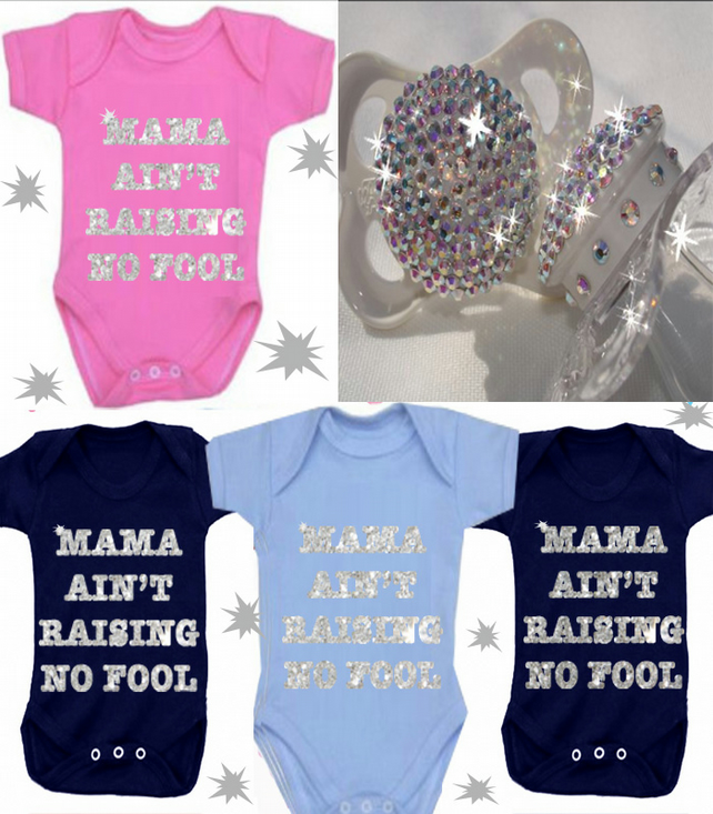 BODYSUIT SPARKLY MAMA AIN'T  RAISING NO  FOOL OR ANY FAMILY MEMBER