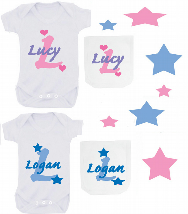 BODYSUIT AND BIB PERSONALISED ANY NAME SET FOR YOUR BABY