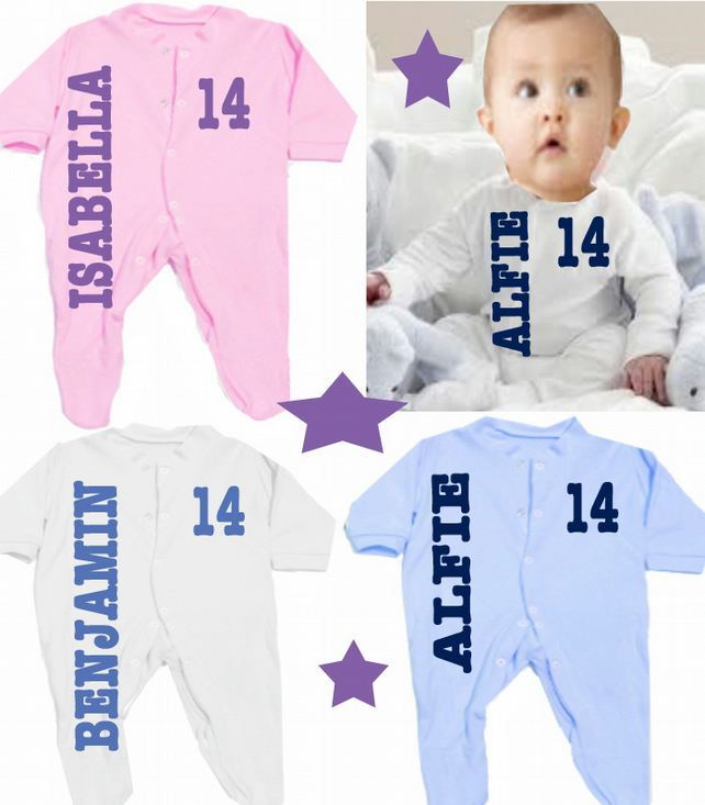 Babygrow Personalised any name  ANY NUMBER  ANY YEAR ALFIE 14