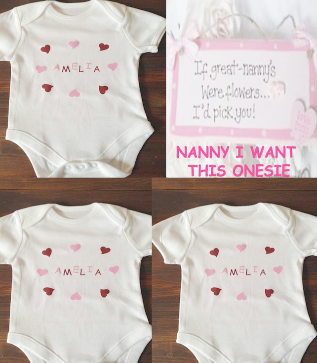 BODYSUIT   any name any colour  HEARTS FOR GIRLS STARS FOR BOYS