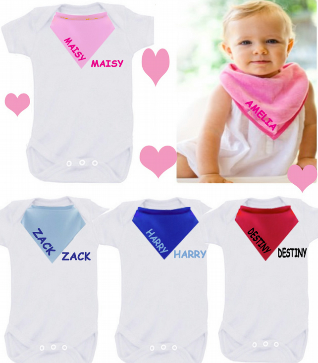 BODYSUIT SET any name any colour  with dribble bib