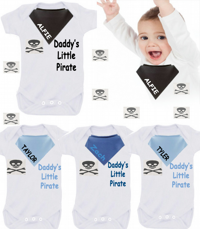 BODYSUIT Daddy's Little pirate any name any colour  with dribble bib