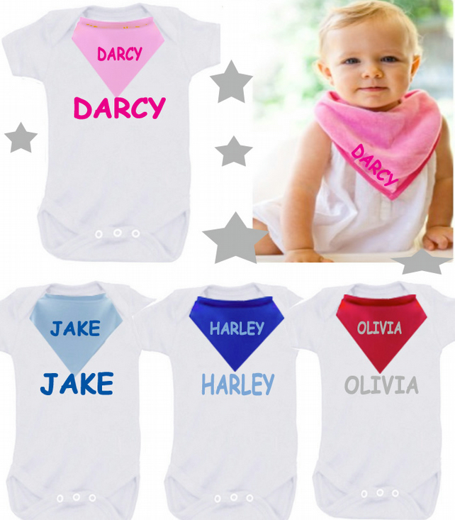 BODYSUIT SET any name  straight any colour  with dribble bib