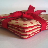 SALE Coasters, red & spotty