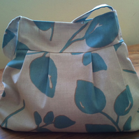 bag with leaf print in duck egg blue