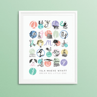 Personalised alphabet print 8x10""