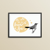 Brave bird print in yellow 8x10""