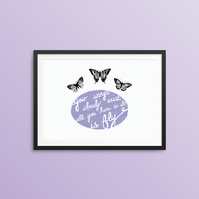 Spread your wings butterfly print in purple 8 x 10""