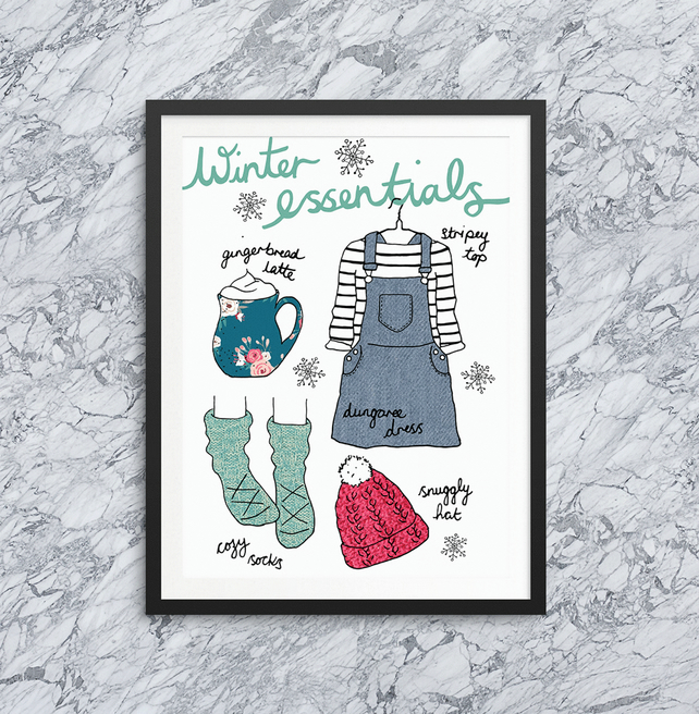 Winter essentials illustration print