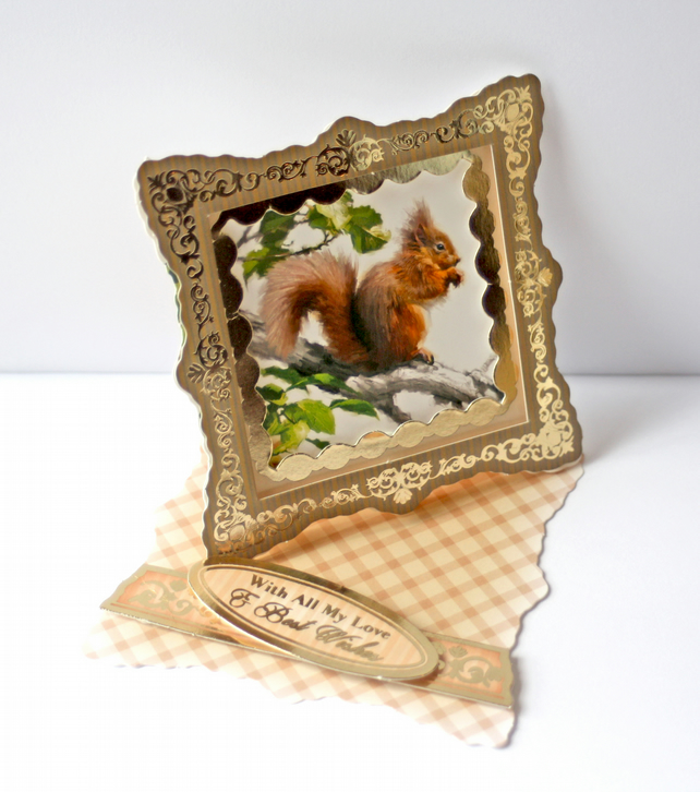 Red Squirrel twist easel card
