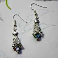 Christmas Tree Snowflake sparkle earrings in blue