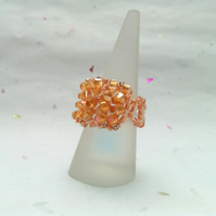 Coral sunset crystal twist cocktail beaded ring
