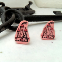 Pink Castle stud earrings hand stamped and coloured