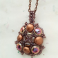Copper and purple candy bead mandala pendant