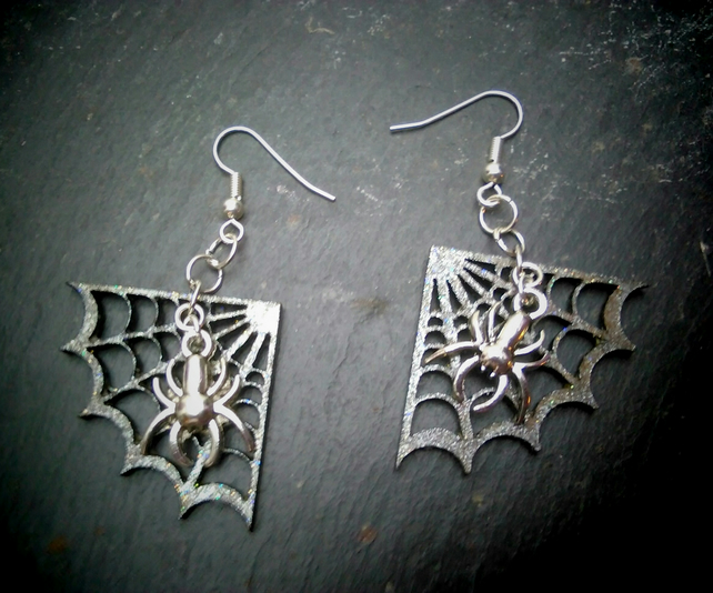 Metallic hand-painted Cobweb earrings with spider charm dangle earrings