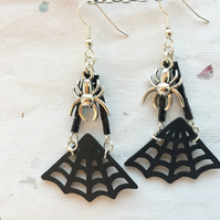 Cobweb and spider chandelier earrings