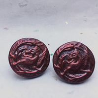 Griffin Medieval style stud earrings in deep red fantasy mythology inspired