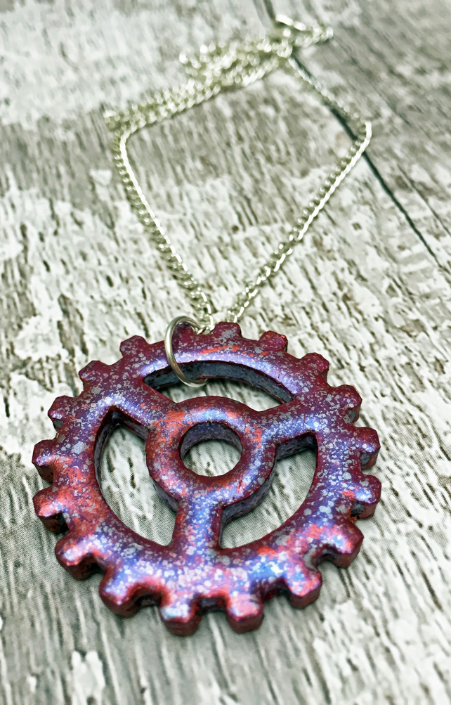 Steampunk Cog Pendant in Marbled Plum Jewel Enamels on a silver plated chain
