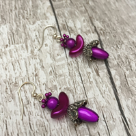 Purple miracle bead Angel or Fairy dangle earrings gifts for her