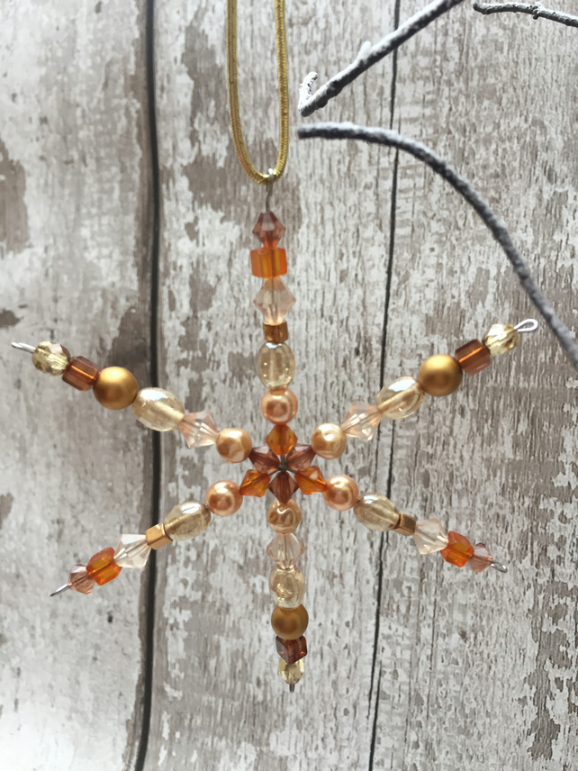 Snowflake ornament with assorted glass and acrylic beads in Topaz, yellow, gold