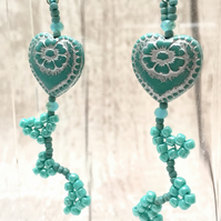 Aqua heart earrings with beaded heart dangles