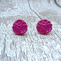 Flower trio Hot Fuschia pink vintage button stud earrings fiesta jewellery