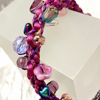Pink & Purple flower & beads Kumihimo hand braided bracelet