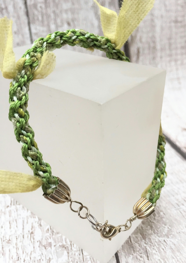 Green tufted yarn Kumihimo or Japanese braided bracelet