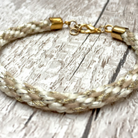 Cream, beige and taupe stripe braided Kumihimo bracelet