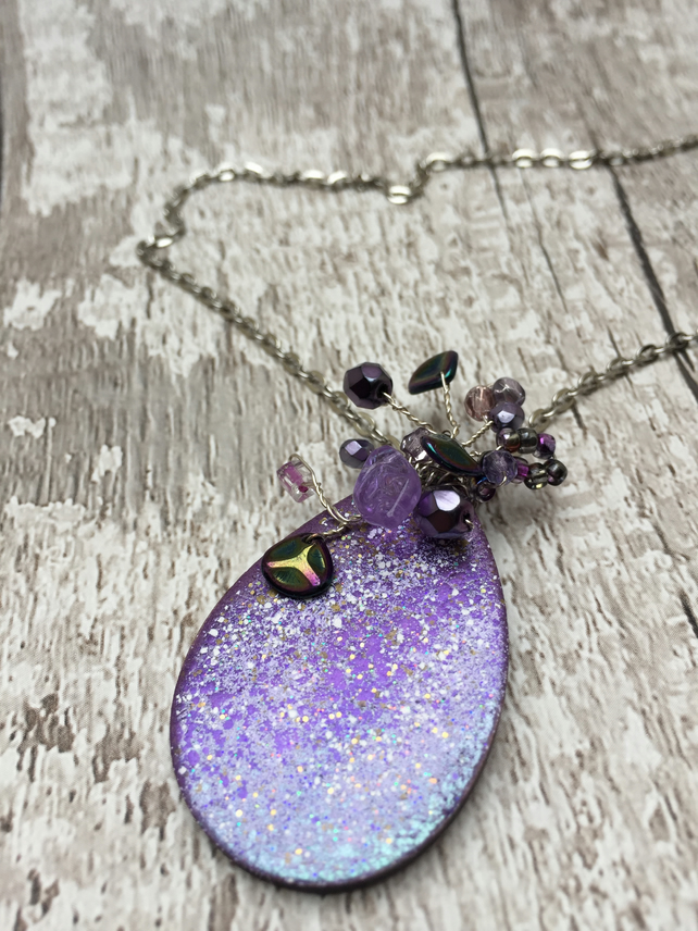 Purple jewel enamel teardrop pendant with Bead wire wrapped centrepiece