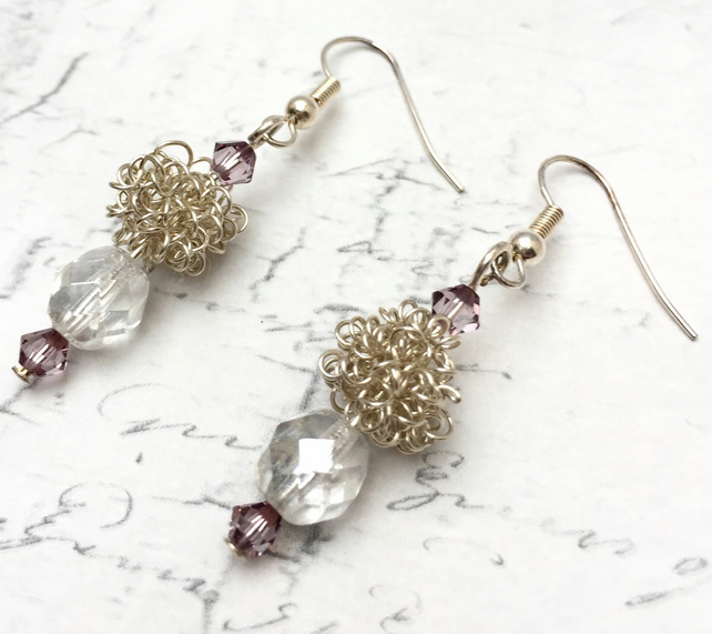 Coil wire and faceted crystal Bead dangle earrings silver plated