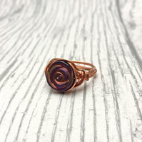 Purple matte metallic hematite Rose bead,  copper wire wrapped ring