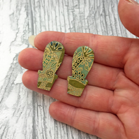 Cactus stud earrings with Japanese leafy Washi paper
