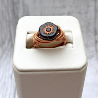 Black and Copper Czech Glass Flower ring wire wrapped copper wire