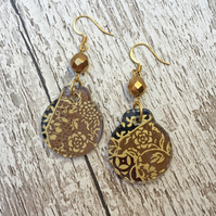 Brown and gold Japanese washi paper dangle earrings
