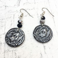 Pewter coloured Griffin dangle earrings with crystal rondelle Mythological beast