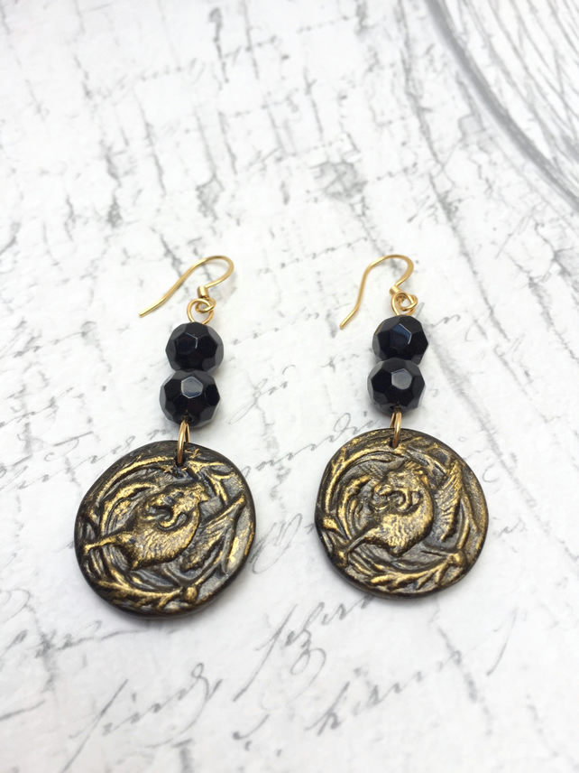 Black and gold Griffin dangle earrings vintage button mythology heraldry geek