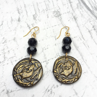 Griffin dangle earrings vintage button Black and gold mythology heraldry geek