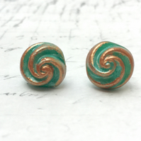 Aqua and copper bronze colour vintage button swirl stud earrings