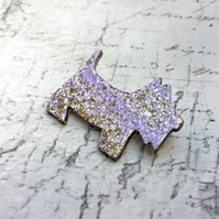 Lilac Scottie Dog brooch jewel enamels on wood