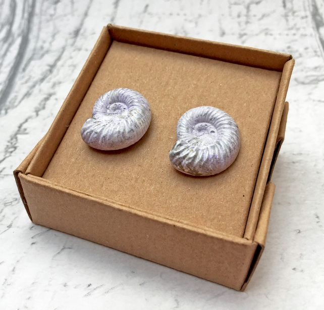 Ammonite stud earrings in pale lilac, bronze and white jewel enamel fossil lover