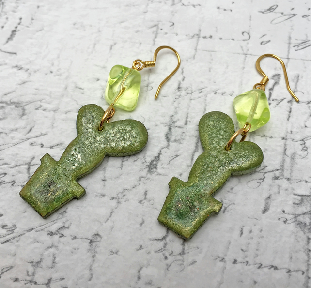 Green Cactus wooden dangle earrings with glass beads