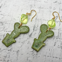 Green Cactus wooden dangle earrings