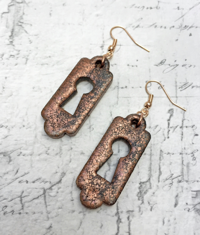 Key hole wooden earrings escutcheon steampunk inspired